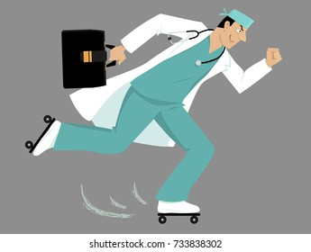 Doctor on roller skates rushing to a patient, EPS 8 vector illustration