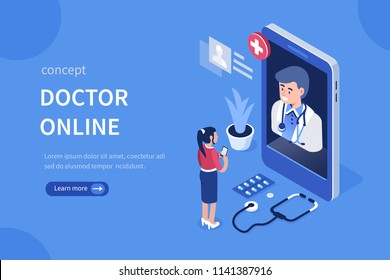 Doctor online concept with character. Can use for web banner, infographics, hero images. Flat isometric vector illustration isolated on white background.