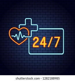 Doctor online glowing neon logo on dark brick wall background. Neon doctors mobile app sign with heart, pulse line and stethoscope. Mobile medicine round the clock 24 7 app. Vector illustration.