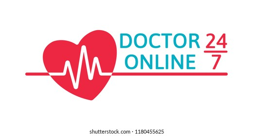 Doctor online logo on white background. Mobile medicine round the clock 24 7 app. Neon doctors mobile app sign with heart and pulse line. Vector illustration.