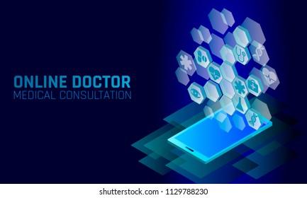 Doctor online medical app mobile applications. Digital healthcare medicine diagnosis concept banner. Human heart eye DNA icon hexagon innovation technology vector illustration