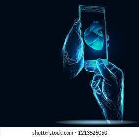 Doctor online medical app mobile applications. Digital heathcare medicine diagnosis concept banner. Human heart smartphone low poly geometric innovation technology vector illustration.