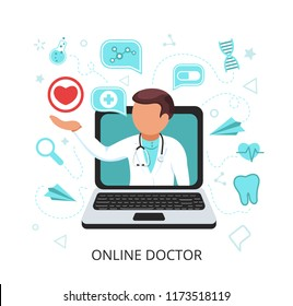 Doctor with online medical consultation,service in laptop with speak bubble, red heart,computer. Healthcare services, Ask doctor. Internet health service, medical consultation. Flat cartoon vector.