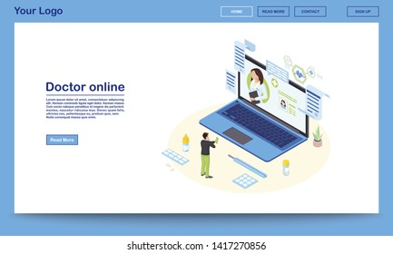 Doctor online service isometric landing page template. 3d physician consulting patient, prescribing medicine. Ehealth system promo website with text space. Client contacting remote medical specialist