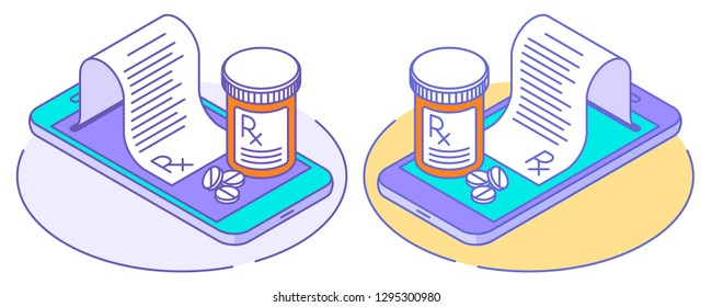A doctor online writes the medical prescription, pill bottles on the smartphones, rx from the screen. Line isometric illustration. The telehealth, telemedicine, online medicine outline vector concept.