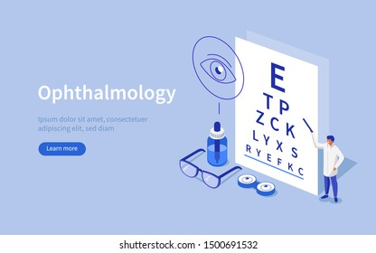 Doctor Ophthalmologist standing near Eye Test Chart. Medical Character Checking Vision. Eyesight Check Up and Glasses Choosing. Ophthalmology Medical Concept. Flat Isometric Vector Illustration.