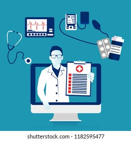 Doctor out of screen computer monitor online diagnosis. Computerized virtual service health help and support. Modern Eps 10 Vector illustration, horizontal image, Minimalist white blue flat design.