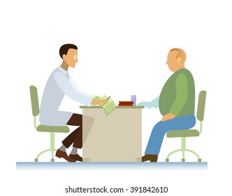 Doctor and overweight patient consultation, diagnosis and cardiogram