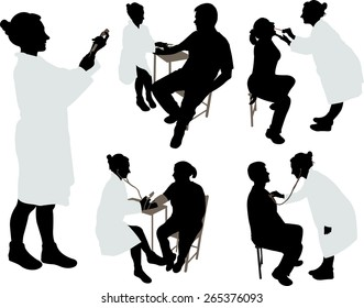 Doctor and patient 2 vector silhouette