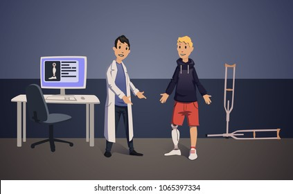 Doctor and patient with artificial leg in medical office. Bionic prosthesis. Vector illustration.