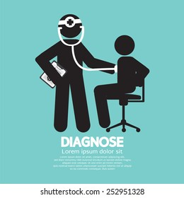 Doctor With Patient Diagnose Concept Black Symbol Vector Illustration