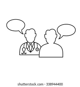 Doctor and patient dialog icon vector.Outline