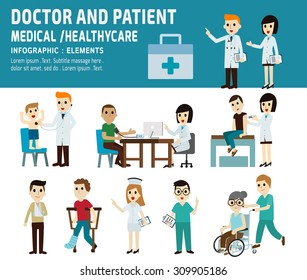 Doctor and patient. healthcare, medical concept. infographic element. Vector flat icons cartoon design. illustration.banner header. isolated on white and blue background.