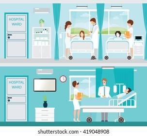 Doctor and patient in Hospital room with beds and comfortable medical equipped in a modern hospital, interior vector illustration.