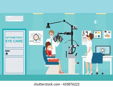 Doctor and patient at Ophthalmologist interior office with Phoropter, ophthalmic testing device machine, medical care flat design, Vector illustration.