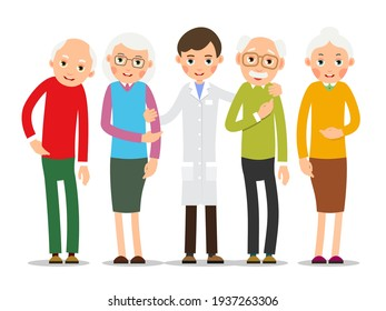 Doctor and patient. Practitioner doctor man stands and supports old ailing patients. Consultation and diagnosis. Illustration isolated on white background in flat style. Vector.