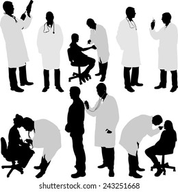 doctor and patient silhouette - vector illustration