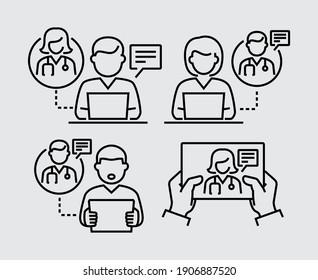 Arzt und Patient nutzen Online-Chat, um Vektorliniensymbole zu kommunizieren