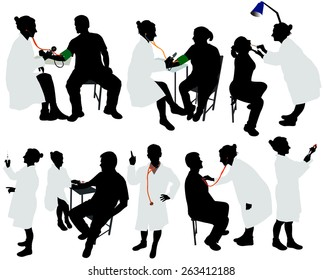 doctor and patient vector silhouettes