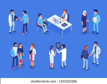 Doctor and patients concept banner with characters. Can use for web banner, infographics, hero images. Flat isometric vector illustration.