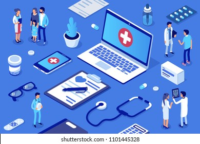 Doctor and patients concept banner with characters. Healthcare concept. Can use for web banner, infographics, hero images. Flat isometric vector illustration.