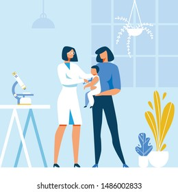 Doctor Pediatrician Making Flu Vaccine Injection to Baby. Cartoon Mother and Infant at Hospital. Kids Treatment, Vaccination or Immunization Schedule. Vector Immunity Health Flat Illustration
