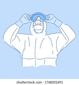 Doctor in Personal Protective Equipment  protection suit, Protect coronavirus concept.