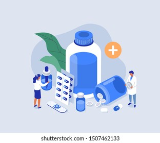 Doctor Pharmacist in Drugstore Standing near Medicine Pills and Bottles. Medical Staff  Choosing Medicaments. Pharmacy Store Concept. Flat Isometric Vector Illustration.