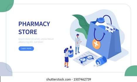 Doctor Pharmacist in Drugstore Standing near Medicine Bag with Pills and Bottles. Medical Staff looking at Prescription and Choosing Medicaments. Pharmacy Concept. Flat Isometric Vector Illustration.