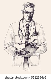 Doctor portrait drawing