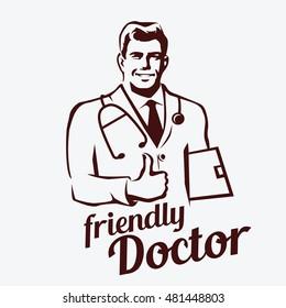doctor portrait retro emblem, stylized sketch of smiling doctor