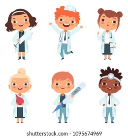 Doctor profession. Childrens in different poses. Cartoon doctors and nurse kids, vector illustration