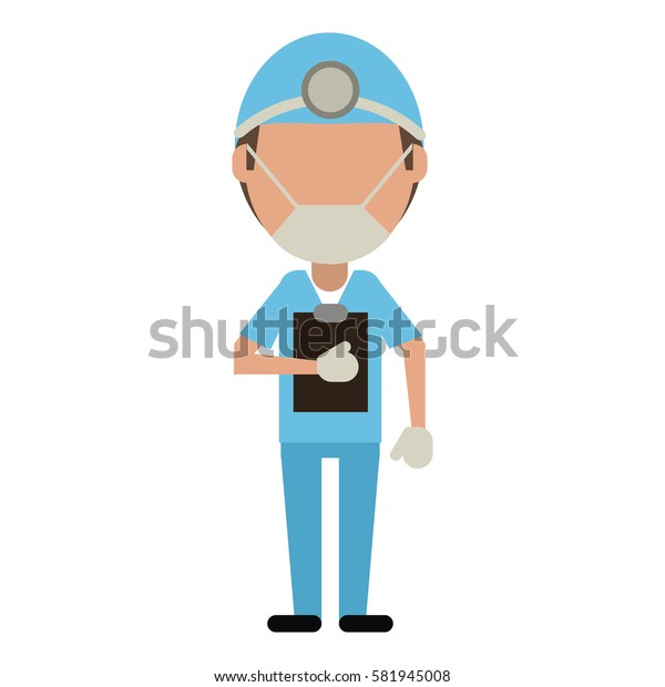 doctor professional surgery mask hat clipboard