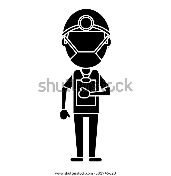 doctor professional surgery mask hat clipboard pictogram