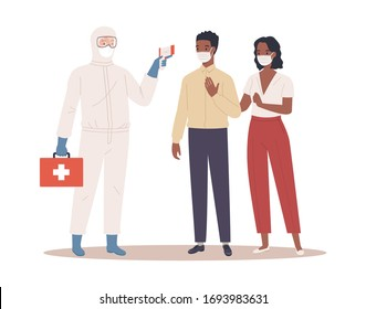 A doctor in protective suit measures the temperature of male and female couple in medical mask. Coronavirus protection concept. Vector illustration in a flat style