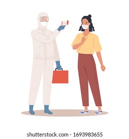 A doctor in protective suit measures the temperature of a woman in a medical mask. Coronavirus protection concept. Vector illustration in a flat style
