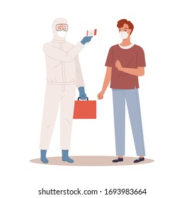 A doctor in protective suit measures the temperature of a man in a medical mask. Coronavirus protection concept. Vector illustration in a flat style