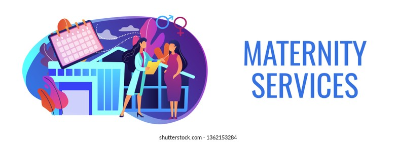 Doctor provides health services to pregnant woman and during labour. Maternity services, maternal perinatal health, pregnancy and birth care concept. Header or footer banner template with copy space.