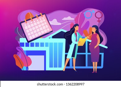 Doctor provides health services to pregnant woman and during labour. Maternity services, maternal perinatal health, pregnancy and birth care concept. Bright vibrant violet vector isolated illustration