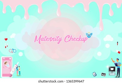 The doctor provides health services to pregnant woman and during labor. Maternity services, maternal perinatal health, pregnancy, and birth care. Header or footer banner template. Vector illustration