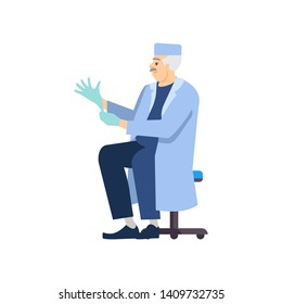 Doctor putting on gloves flat vector illustration. Professional surgeon in uniform isolated cartoon character on white background. Medical exam, regular check, heart and brain surgery preparing