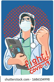 The doctor raised his fist to fight against viral diseases.