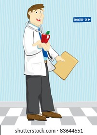 Doctor reaching out with an apple.