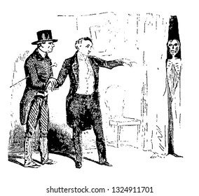 Doctor read the patient and told that skeleton is seen by patient everywhere in the room and patient fell in slump and died, vintage engraved line art illustration. Infernal Dictionary 1863.