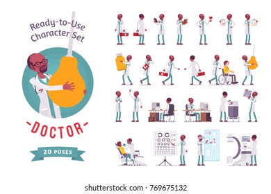 Doctor ready-to-use character set. Black male practitioner on duty in clinic, working in hospital, full length, different views, gestures, emotions, front and rear view. Medicine, healthcare concept