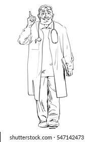 Doctor recommended. Sketch of friendly smiling senior physician walking.Hand drawn vector illustration isolated on white background.