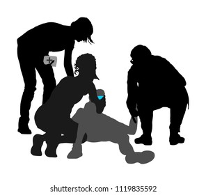 Doctor rescue patient first aid vector silhouette. Unconscious collapsed man laying down. Sneak attack victim. Paramedic rescue team resuscitating. Drowning revitalize. Battle for life. Revival help.