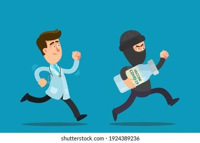 Doctor run after the thief who stole covid-19 vaccine. Burglar or spy stole a coronavirus vaccine from a laboratory. Vector illustration, flat design cartoon.