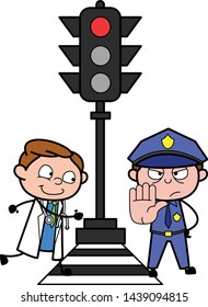 Doctor Running in Hurry and Policeman Showing Hand to Stop - Professional Cartoon Doctor Vector Illustration