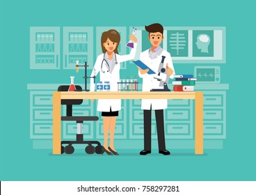 Doctor and science technician doing research in medical laboratory. vector illustration